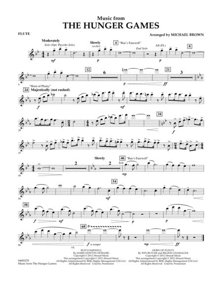 """Download Music From """"The Hunger Games"""" - Flute Sheet Music"""