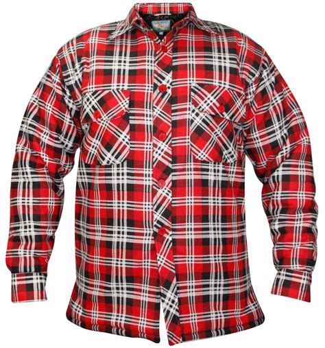 Mens quilted Lined Padded Lumberjack Check Flannel hiver