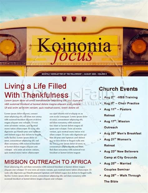 Back to School Bus Church Newsletter Template Template